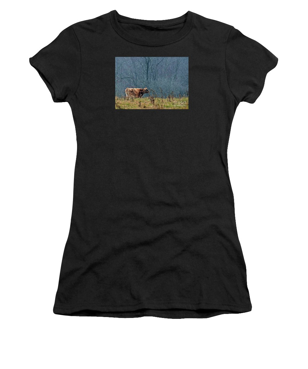 Jersey Cow Women's T-Shirt (Athletic Fit) featuring the photograph Grazing In Winter by Christian Mattison