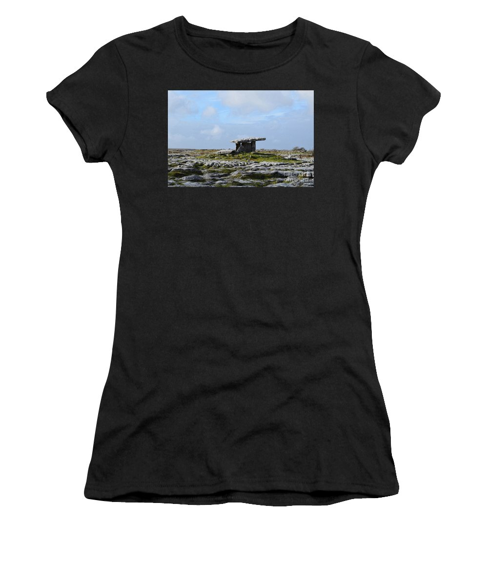 Poulnabrone Dolmen Women's T-Shirt featuring the photograph Great Rock Poulnabrone Portal Tomb by DejaVu Designs