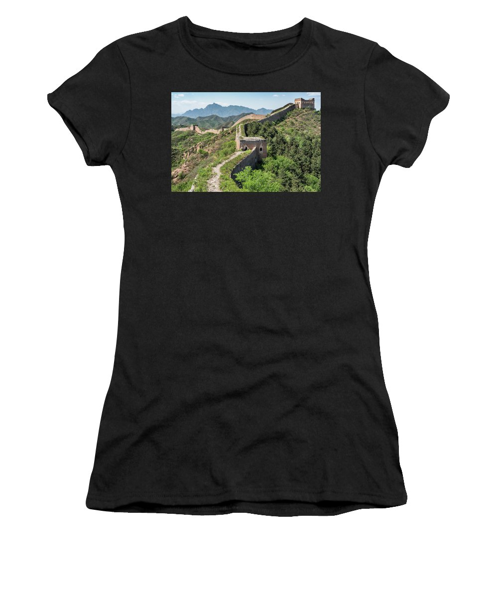 Great Wall Women's T-Shirt (Athletic Fit) featuring the photograph Great Wall Of China by Ben Tucker