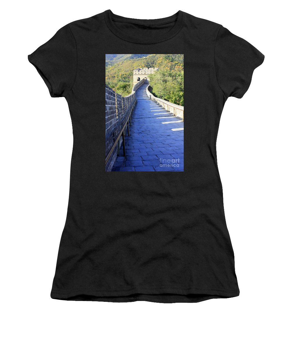 The Great Wall Of China Women's T-Shirt (Athletic Fit) featuring the photograph Great Wall Pathway by Carol Groenen