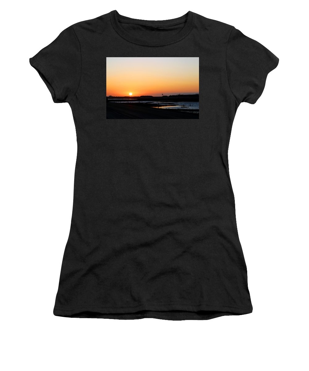 Landscape Women's T-Shirt (Athletic Fit) featuring the photograph Greater Prudhoe Bay Sunrise by Anthony Jones