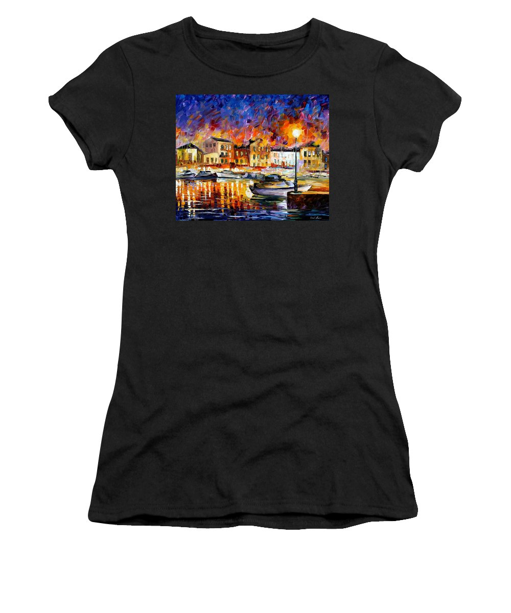Afremov Women's T-Shirt (Athletic Fit) featuring the painting Greece by Leonid Afremov