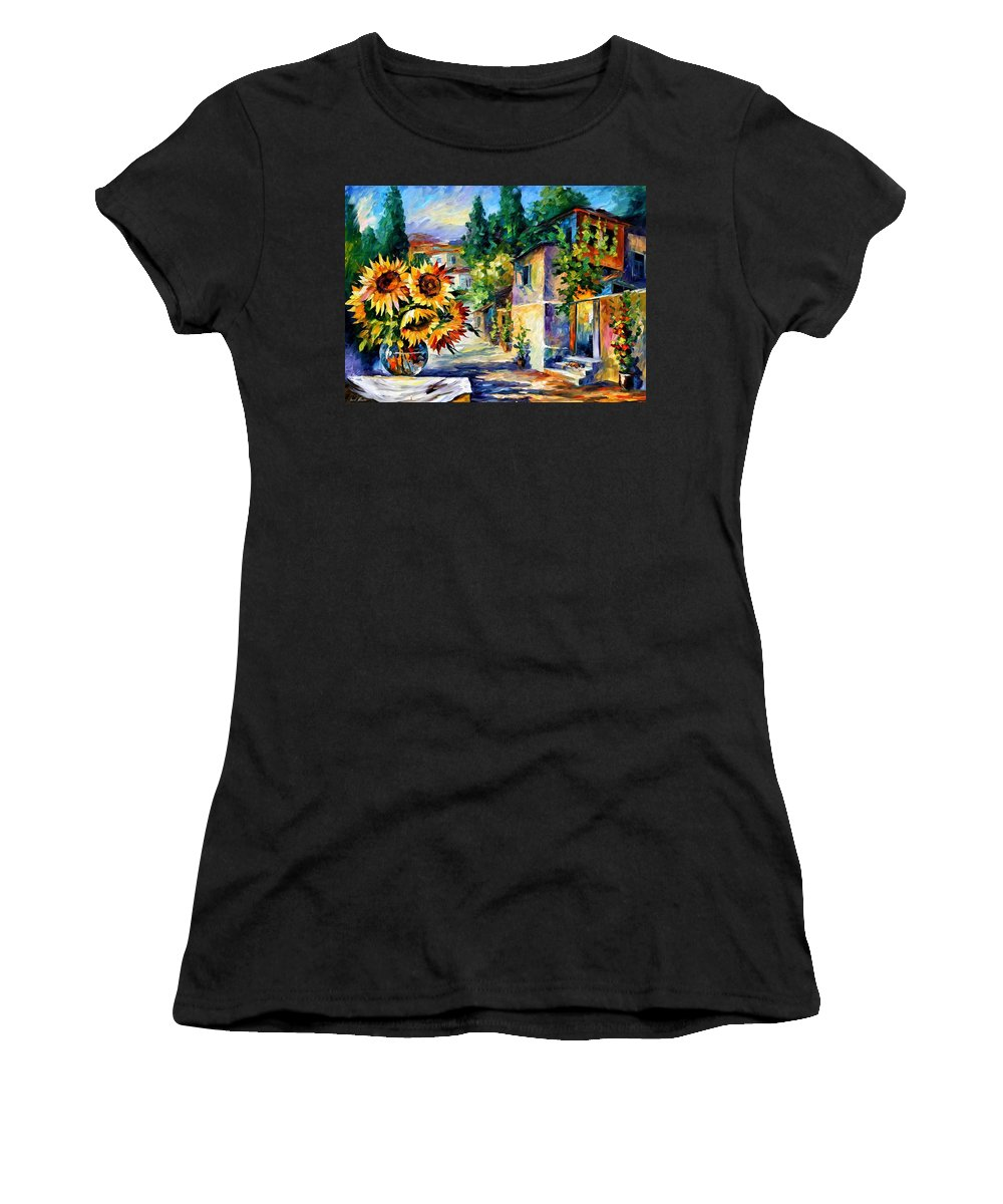Afremov Women's T-Shirt (Athletic Fit) featuring the painting Greek Noon by Leonid Afremov