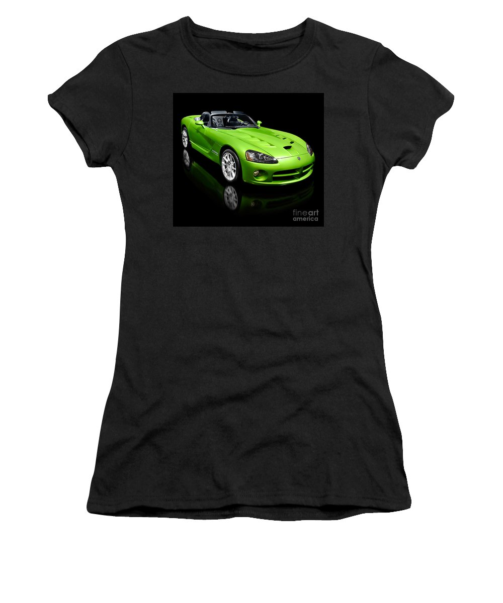 Dodge Viper Women's T-Shirt (Athletic Fit) featuring the photograph Green 2008 Dodge Viper Srt10 Roadster by Oleksiy Maksymenko