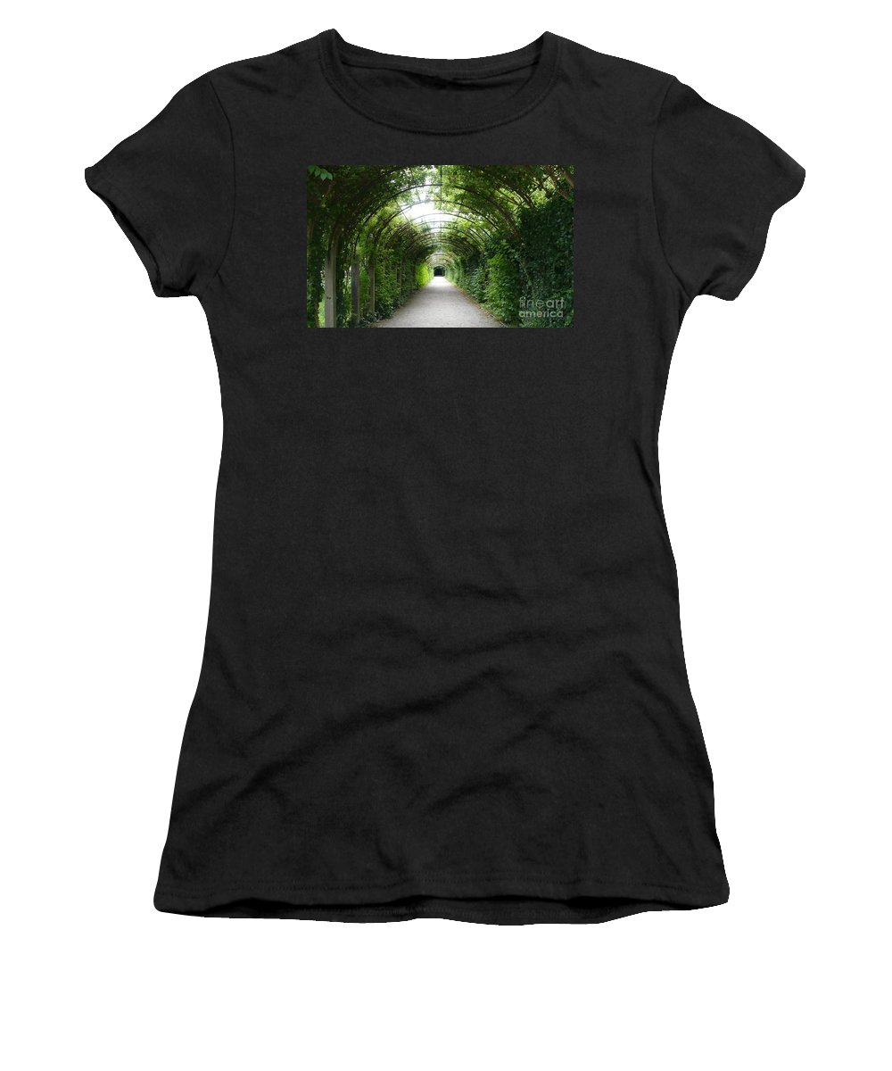 Arbor Women's T-Shirt (Athletic Fit) featuring the photograph Green Arbor Of Mirabell Garden by Carol Groenen