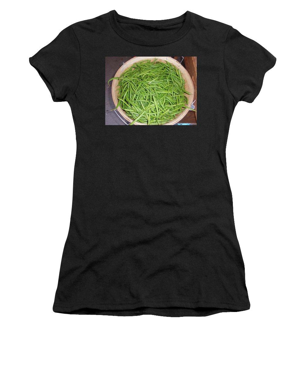 Green Beans Women's T-Shirt featuring the painting Green Beans by Jeelan Clark