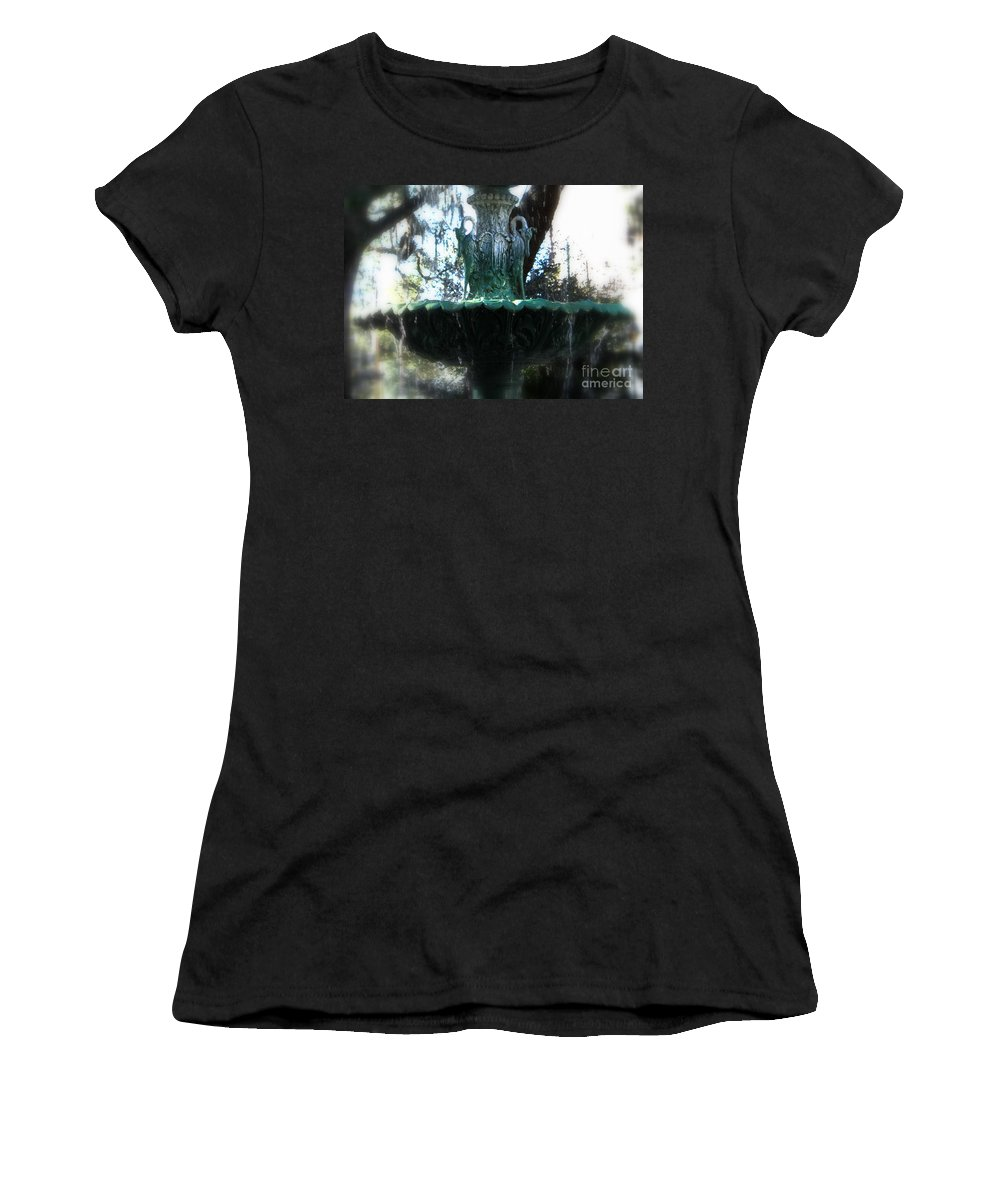 Savannah Women's T-Shirt (Athletic Fit) featuring the photograph Green Fountain by Carol Groenen