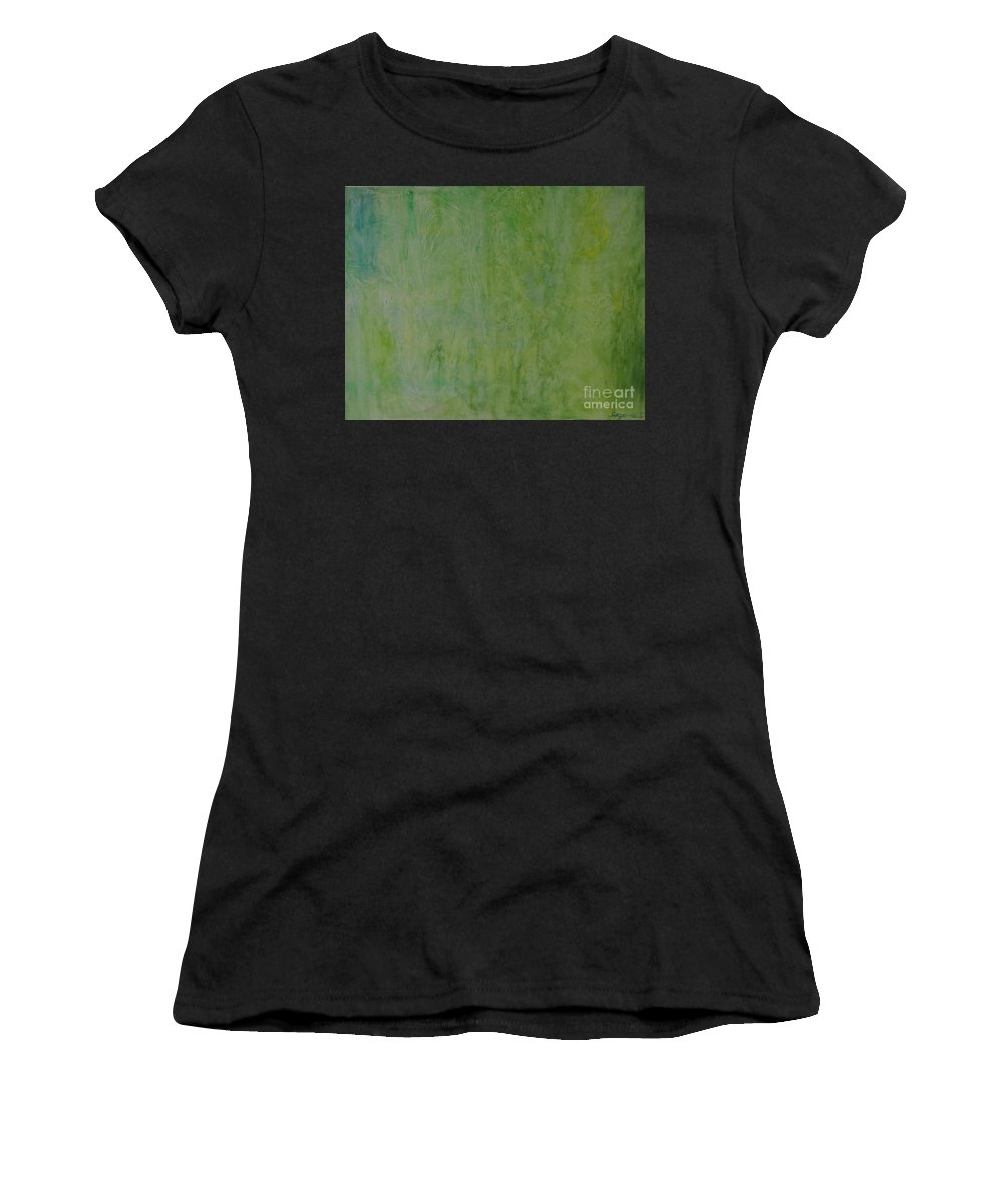 Abstract Women's T-Shirt (Athletic Fit) featuring the painting Green Lagoon by Davorka Segovic