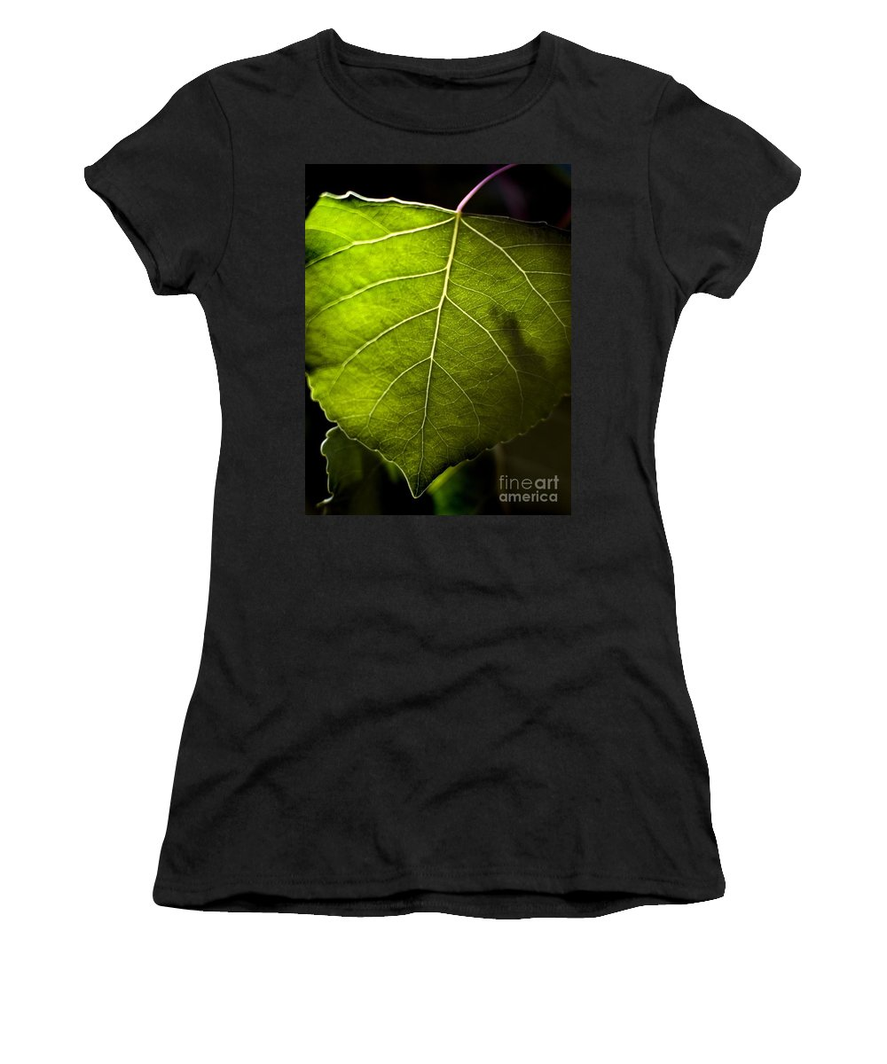 California Scenes Women's T-Shirt (Athletic Fit) featuring the photograph Green Leaf Detail by Norman Andrus