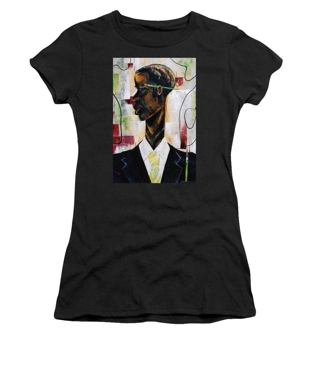 Green Women's T-Shirt (Athletic Fit) featuring the painting Green Light Green Stripe by Hasaan Kirkland