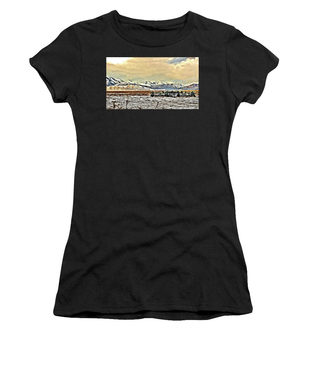 Farm Women's T-Shirt (Athletic Fit) featuring the photograph Green Plow On An Early Winter Morning by Mandy Anderson