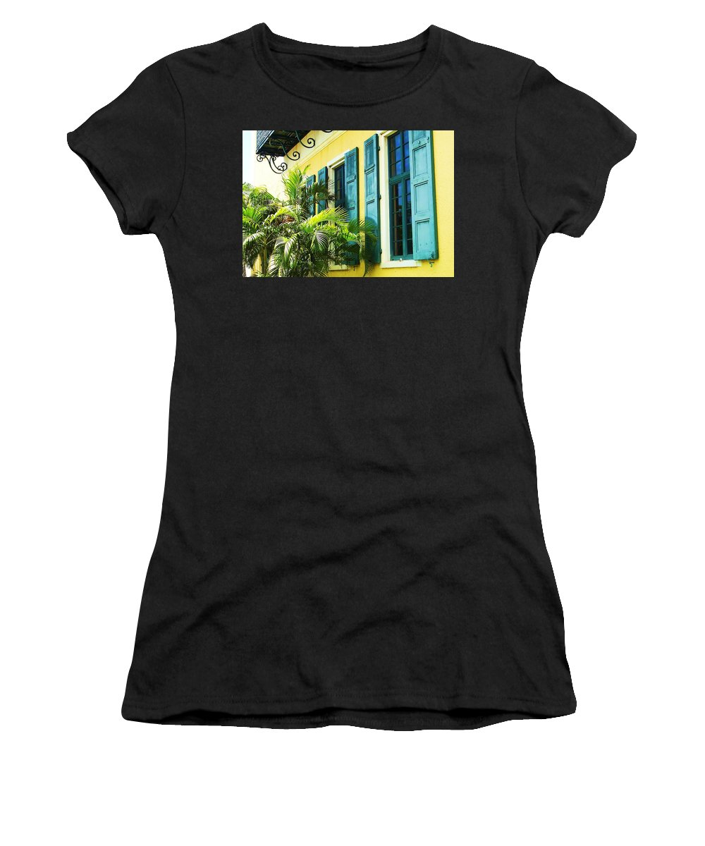 Architecture Women's T-Shirt (Athletic Fit) featuring the photograph Green Shutters by Debbi Granruth