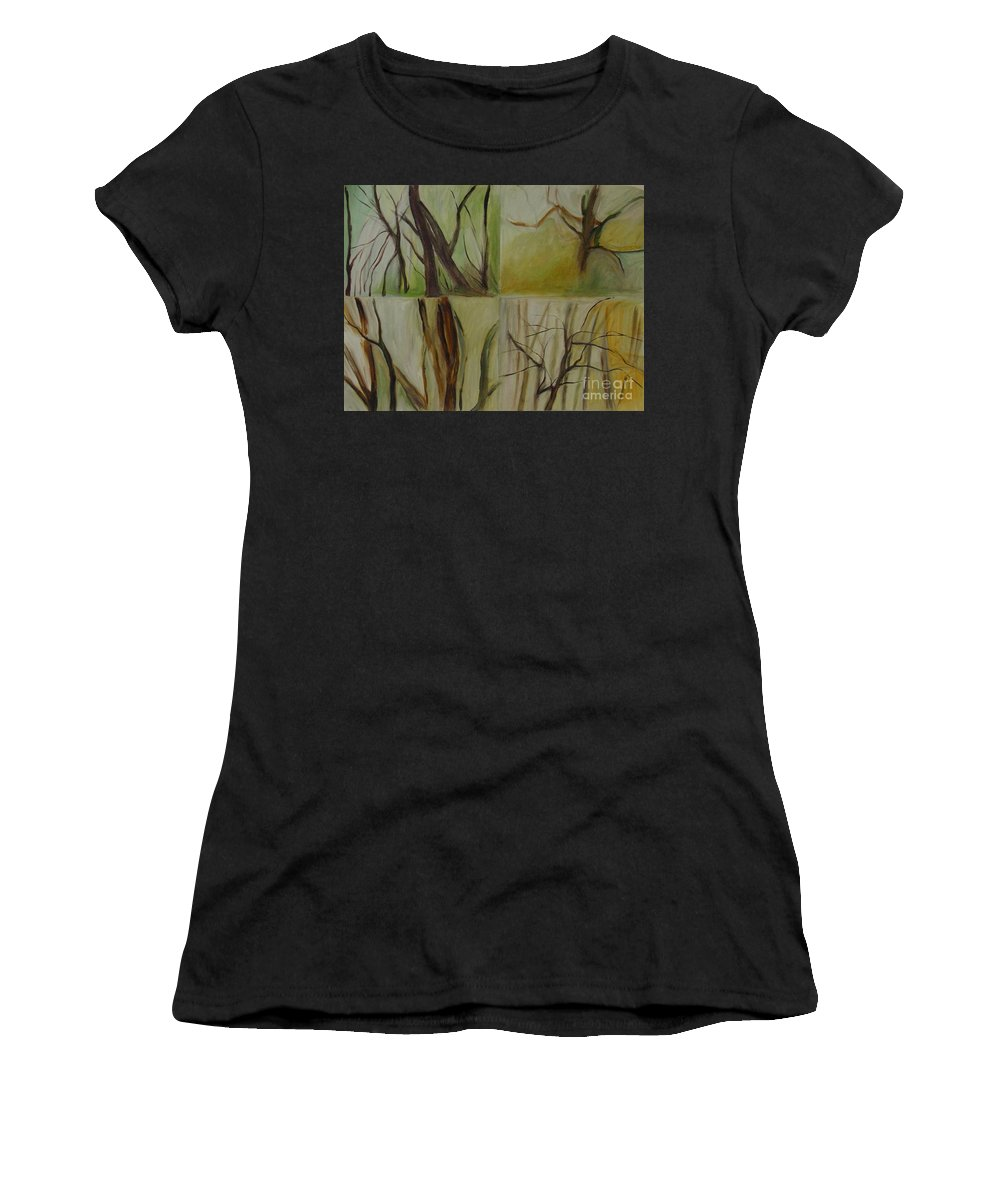 Spring Young Trees Saplings Trees Women's T-Shirt (Athletic Fit) featuring the painting Green Sonnet by Leila Atkinson