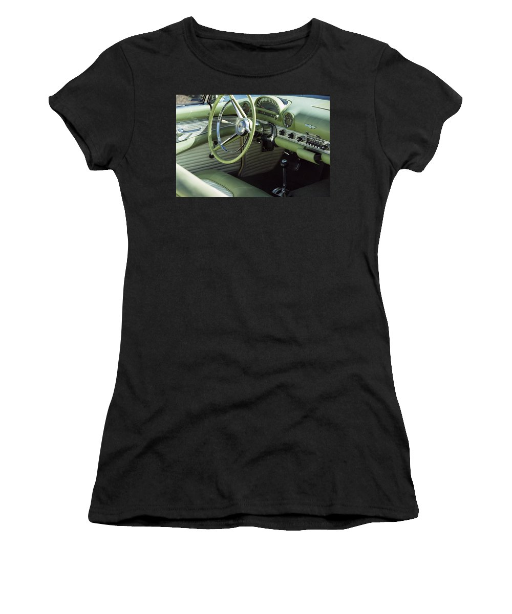 Photography Women's T-Shirt (Athletic Fit) featuring the photograph Green Thunderbird Wheel And Front Seat by Heather Kirk
