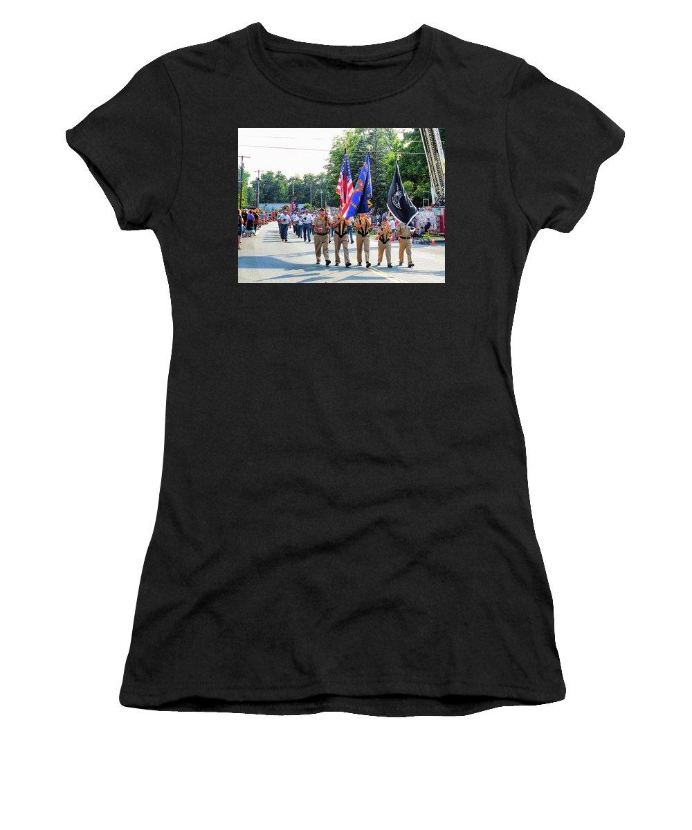 Greene County Women's T-Shirt featuring the painting Greene County Volunteer Firemens Association Inc 5 by Jeelan Clark