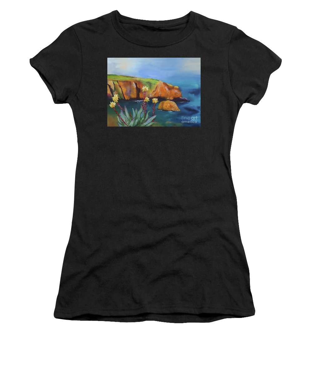 Landscape Women's T-Shirt featuring the painting Greene's Live-forever On Santa Cruz Island by Stacey Best