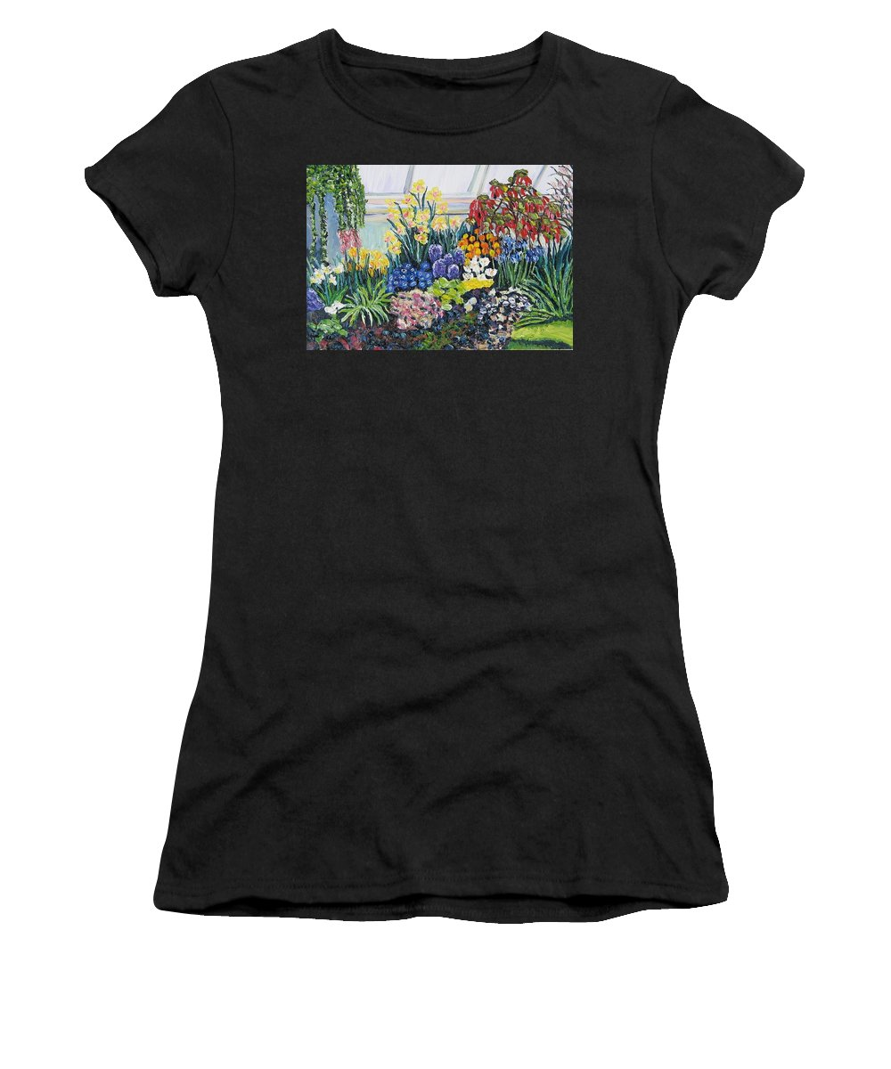 Flowers Women's T-Shirt featuring the painting Greenhouse Flowers With Blue And Red by Richard Nowak