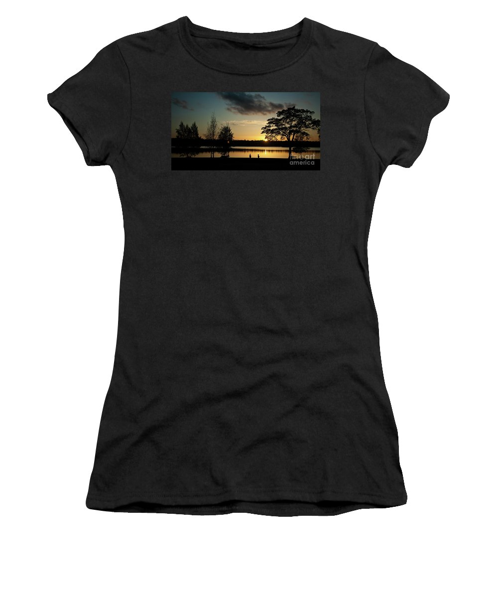 Seattle Women's T-Shirt featuring the photograph Greenlake Evening by Mike Reid