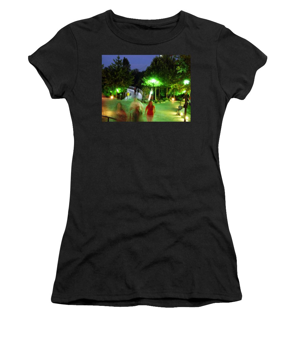 Falls Park Women's T-Shirt (Athletic Fit) featuring the photograph Greenville At Night by Flavia Westerwelle