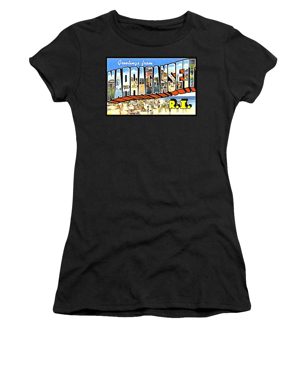 Vintage Collections Cites And States Women's T-Shirt (Athletic Fit) featuring the photograph Greetings From Narragansett Rhode Island by Vintage Collections Cites and States