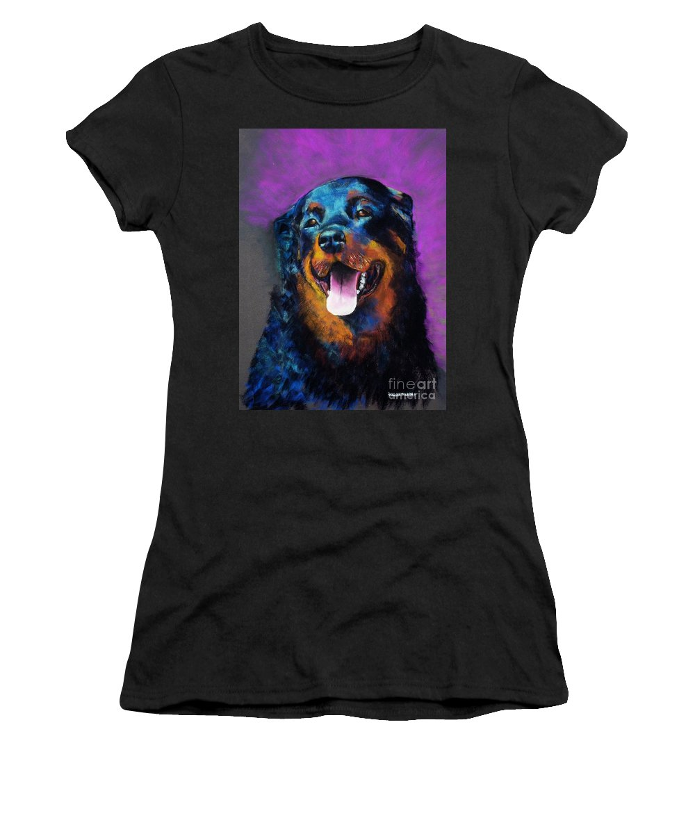 Rottweiler Women's T-Shirt (Athletic Fit) featuring the painting Gretchen by Frances Marino