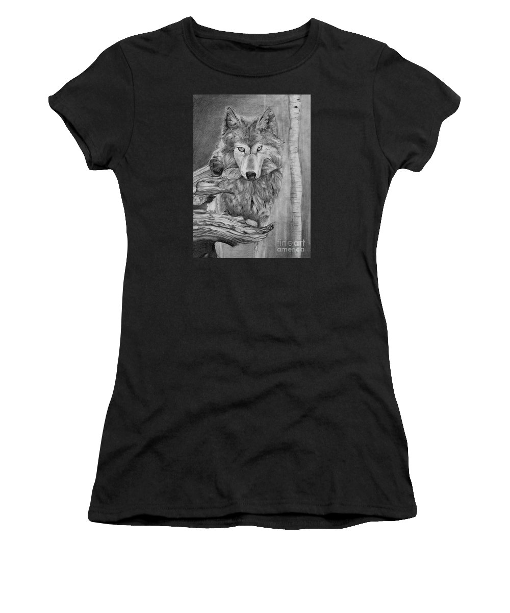 Wolf Women's T-Shirt featuring the drawing Grey Wolf by Celia Fedak