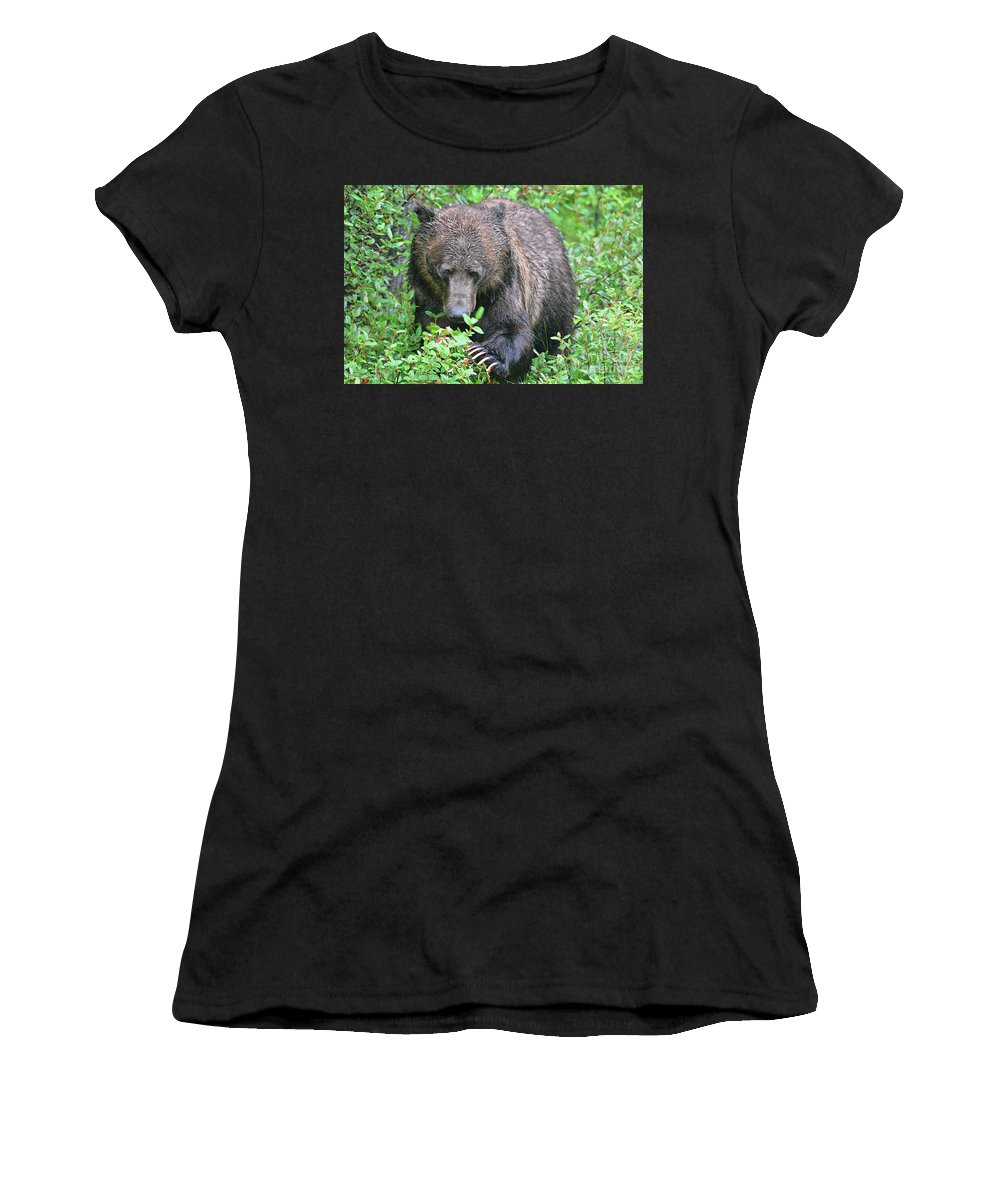 Deanna Cagle Women's T-Shirt (Athletic Fit) featuring the photograph Grizzly Claws by Deanna Cagle