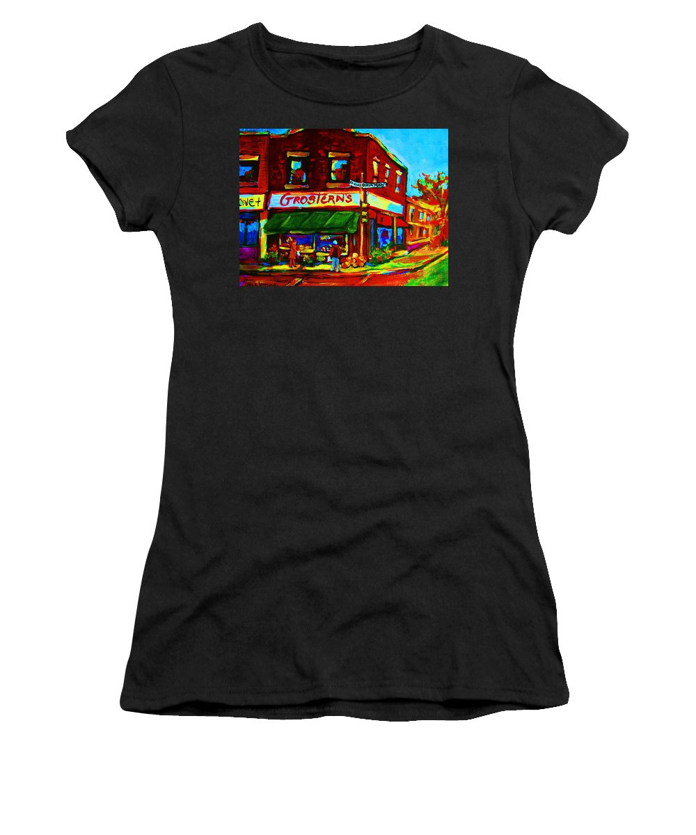 Grosterns Women's T-Shirt (Athletic Fit) featuring the painting Grosterns Market by Carole Spandau