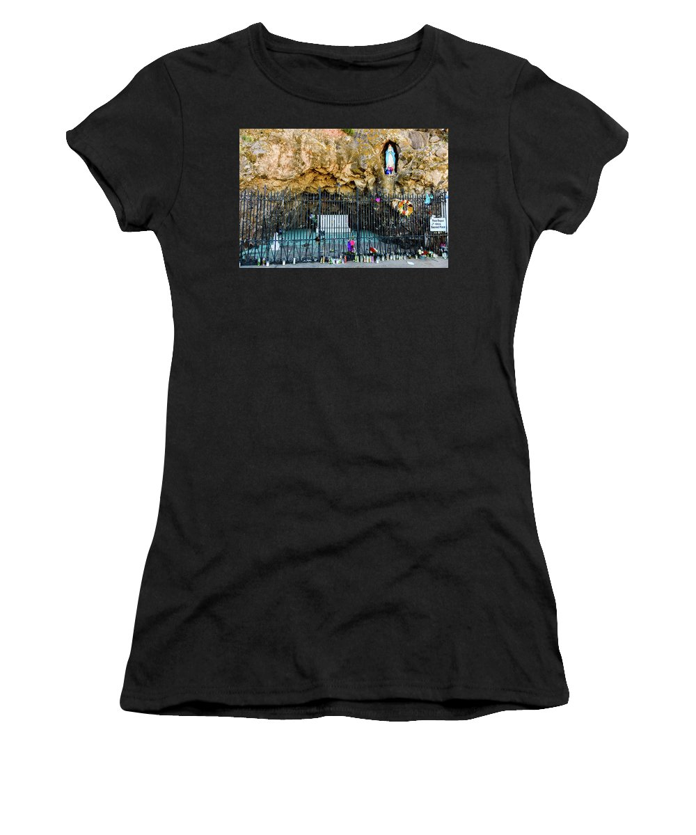Grotto Women's T-Shirt (Athletic Fit) featuring the photograph Grotto At San Xavier Mission - Tucson Arizona by Jon Berghoff