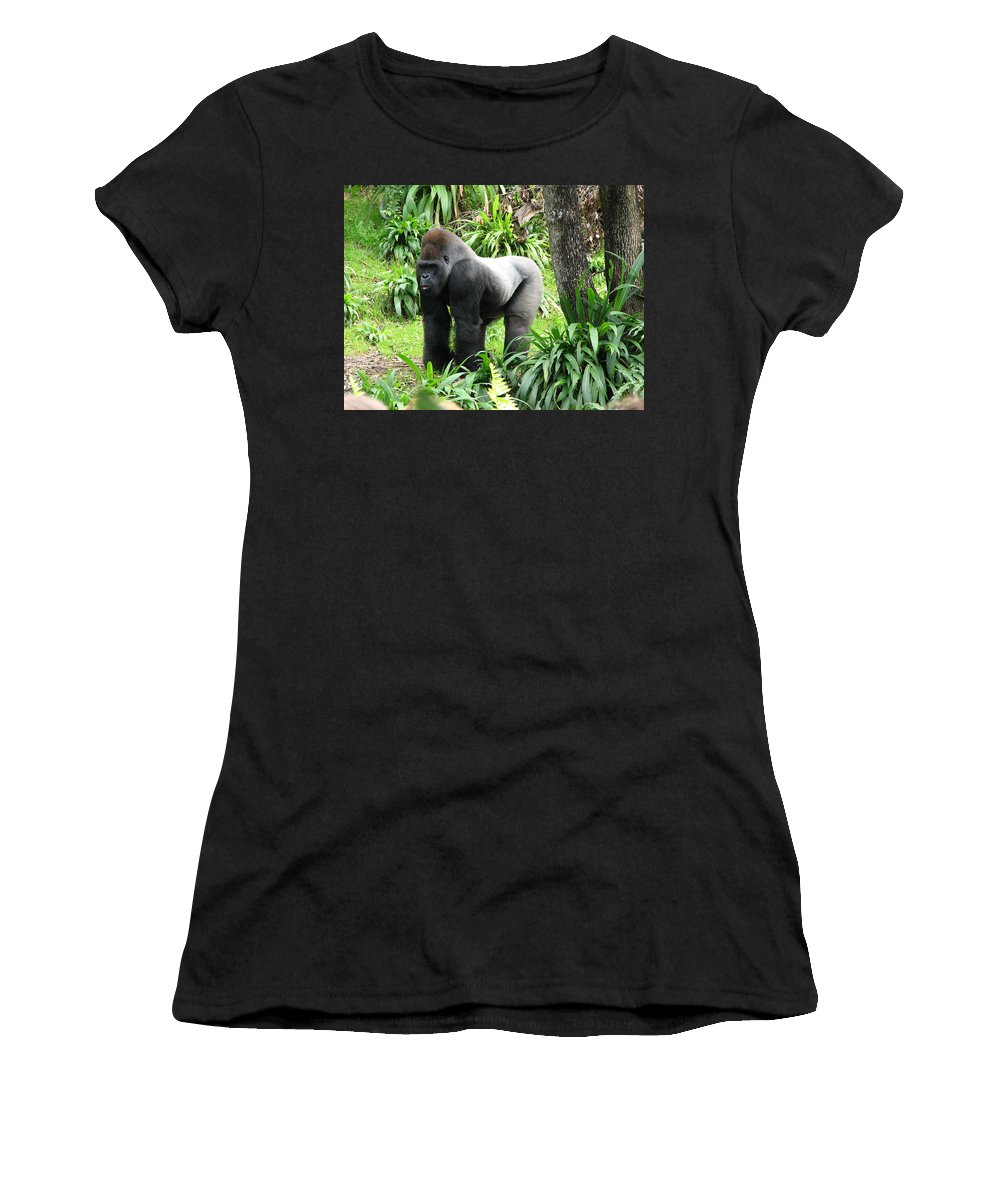 Gorilla Women's T-Shirt (Athletic Fit) featuring the photograph Grumpy Gorilla IIi by Stacey May