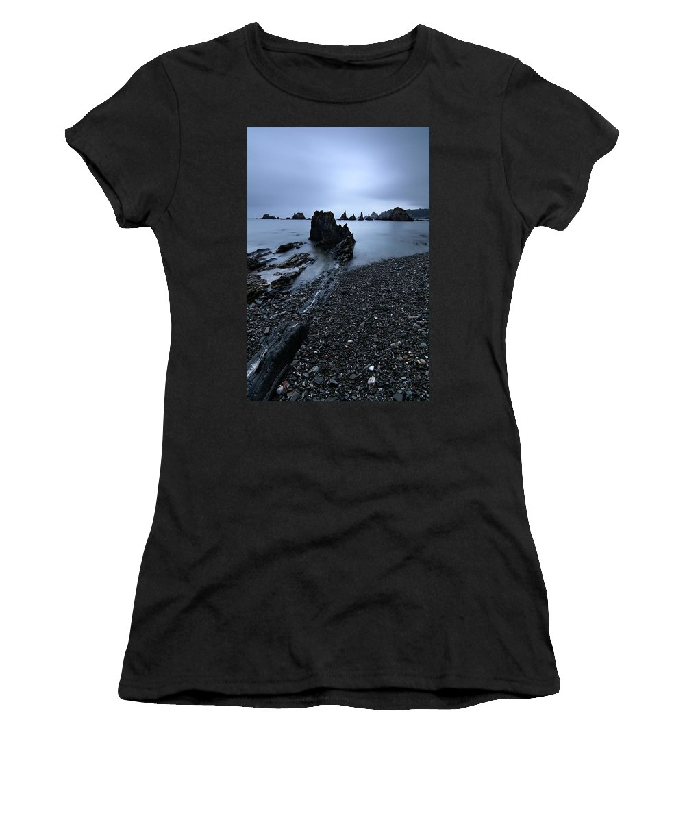 Gueirua Women's T-Shirt (Athletic Fit) featuring the photograph Gueirua In Blue by Miguel Angel Varo Giner