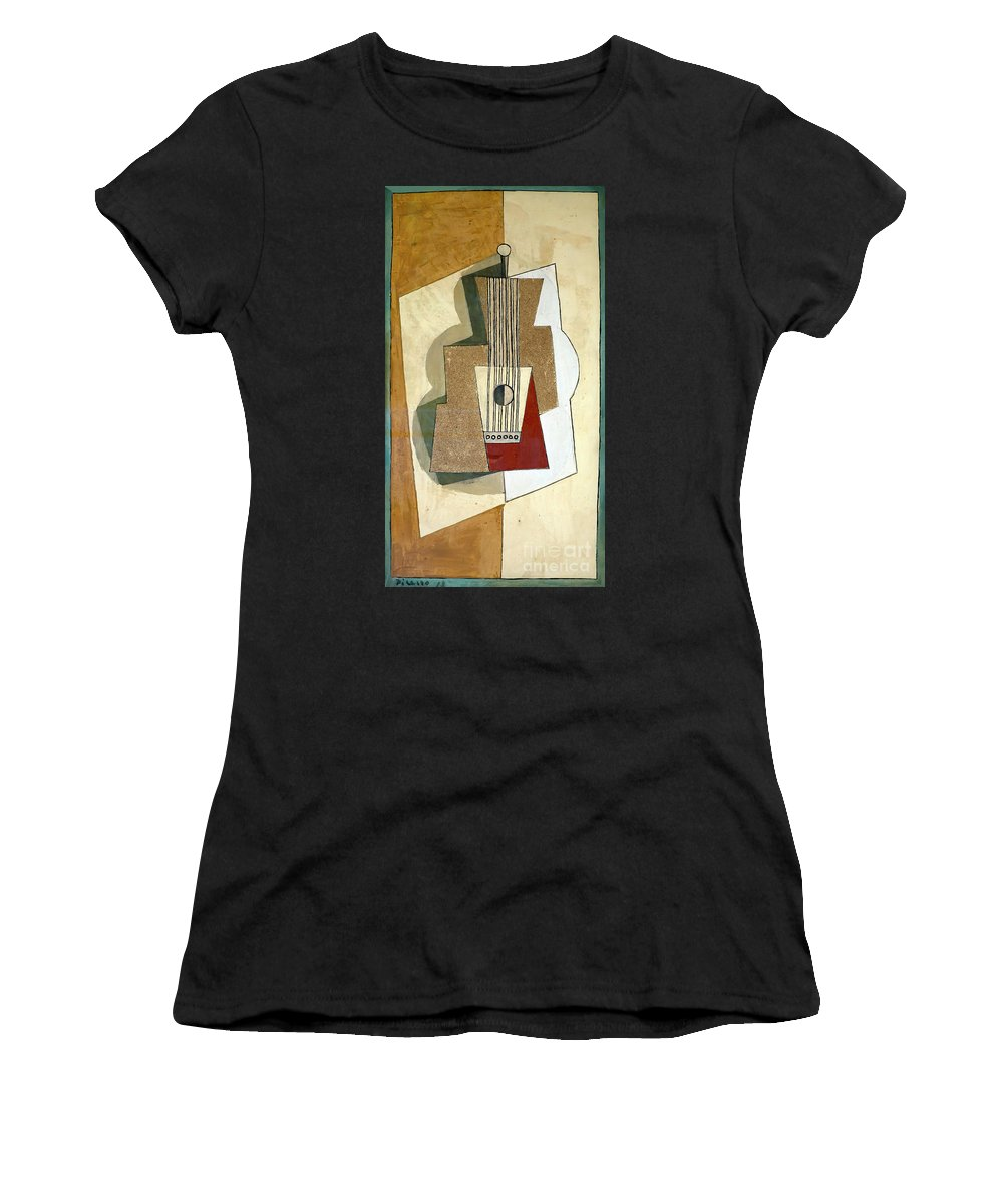 1919 Women's T-Shirt (Athletic Fit) featuring the photograph Guitar, By Pablo Picasso, 1919, Kroller-muller Museum, Hoge Velu by Peter Barritt