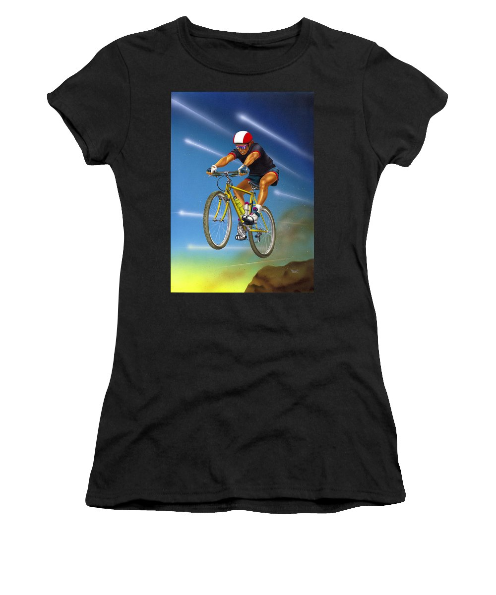 Mountain Bike Women's T-Shirt (Athletic Fit) featuring the drawing Guy In The Sky by Patrick Hoenderkamp