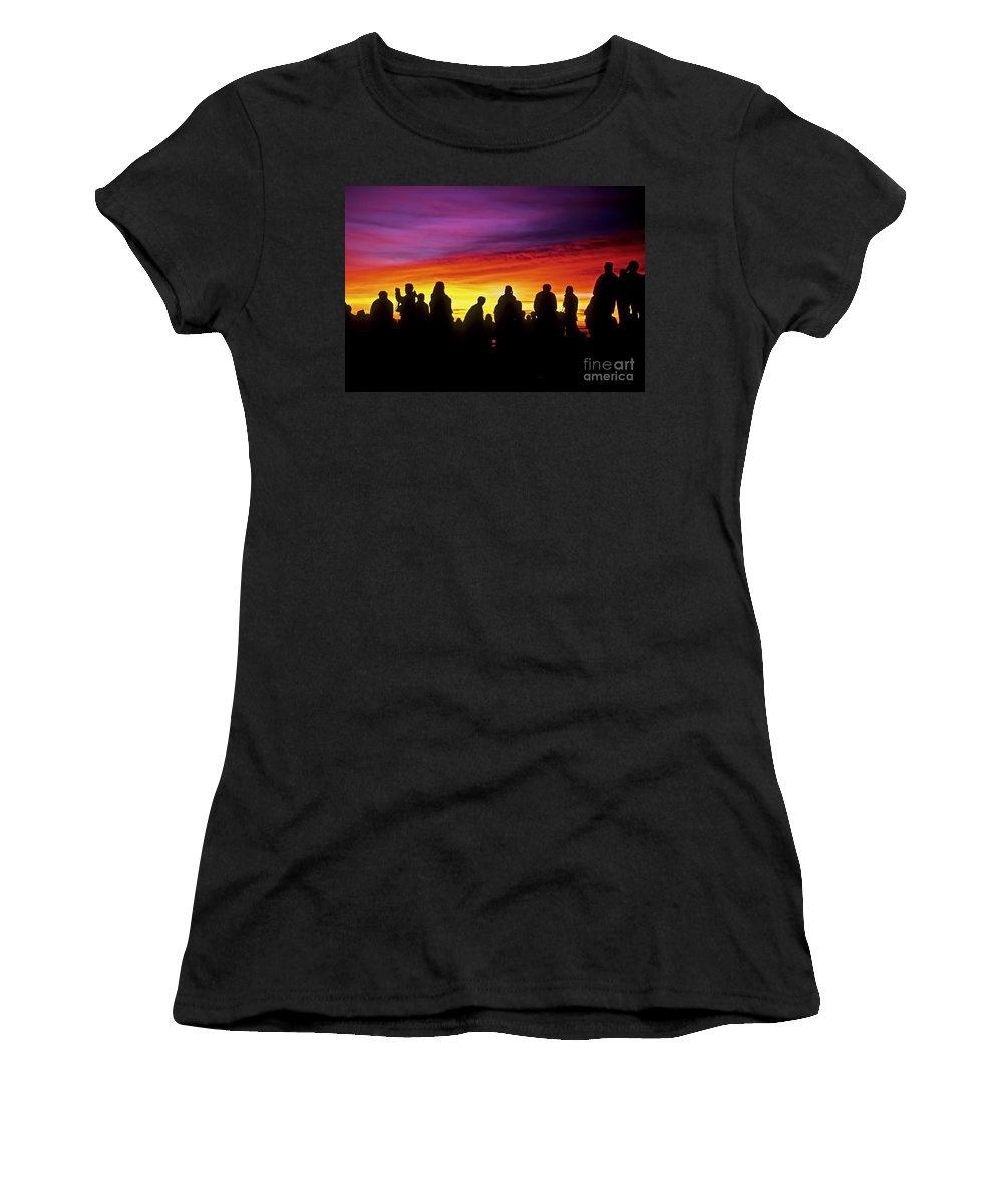Haleakala Sunrise Women's T-Shirt (Athletic Fit) featuring the photograph Haleakala Color Show by Jim Cazel