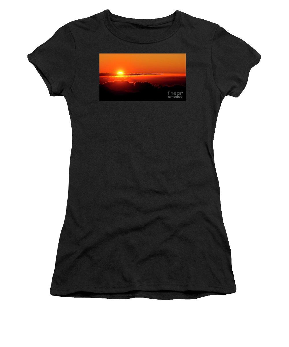 Sunrise Women's T-Shirt (Athletic Fit) featuring the photograph Maui Hawaii Haleakala National Park Sunrise IIi by Jim Cazel