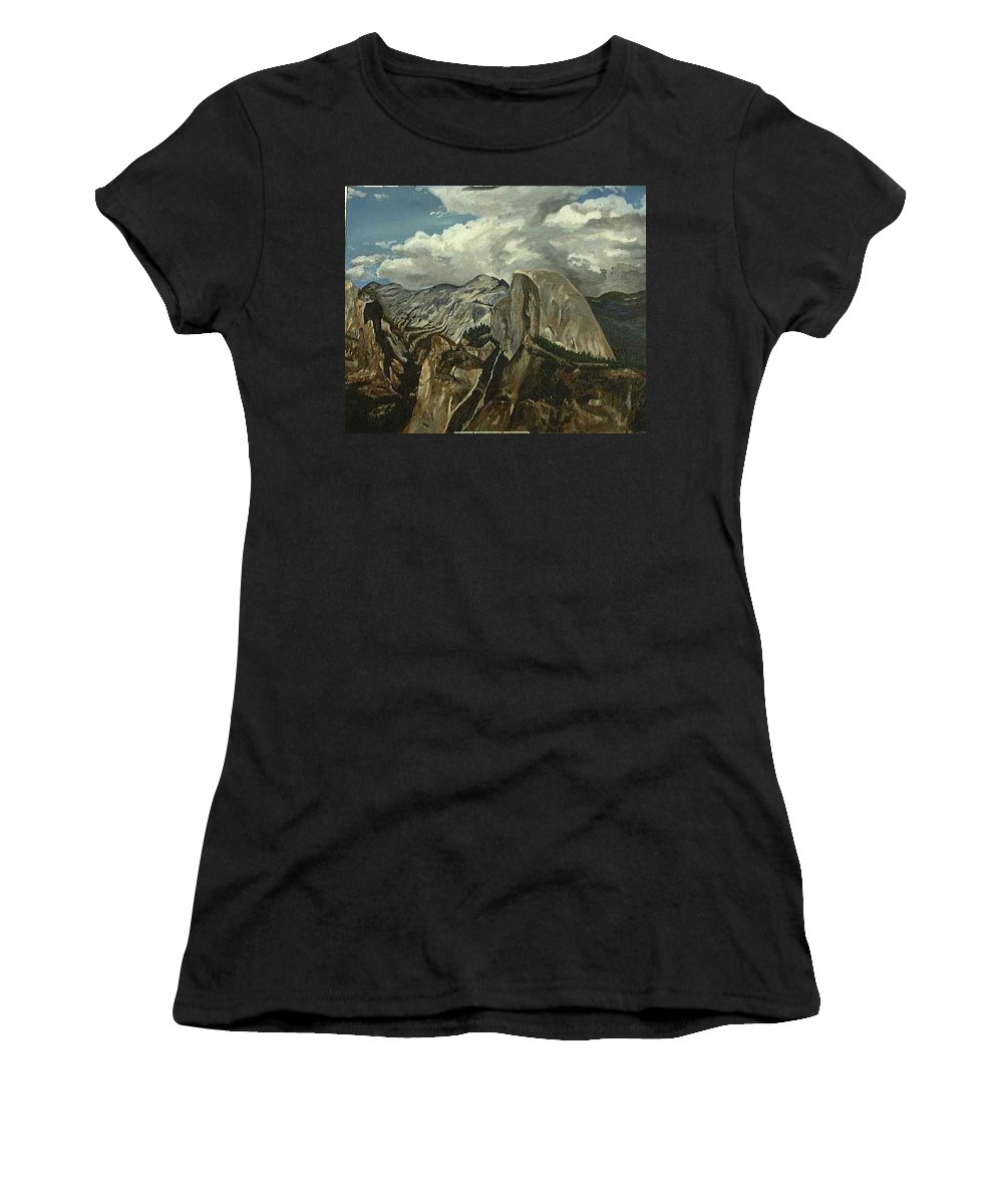 Women's T-Shirt (Athletic Fit) featuring the painting Half Dome by Travis Day