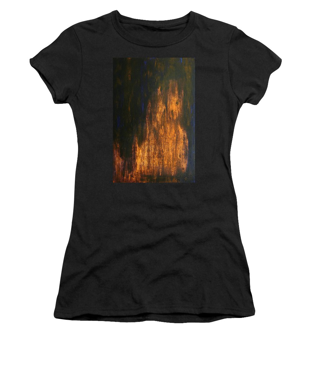 Mystery Women's T-Shirt (Athletic Fit) featuring the painting Half-faced 2007 by RalphGM
