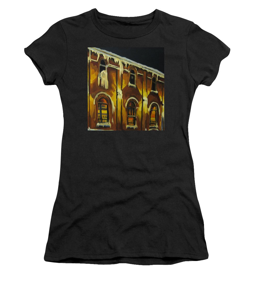 Urban Landscapes Women's T-Shirt (Athletic Fit) featuring the painting Halifax Ale House In Ice by John Malone