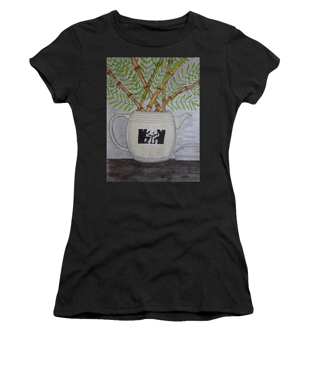 Hall China Women's T-Shirt (Athletic Fit) featuring the painting Hall China Silhouette Pitcher With Bamboo by Kathy Marrs Chandler