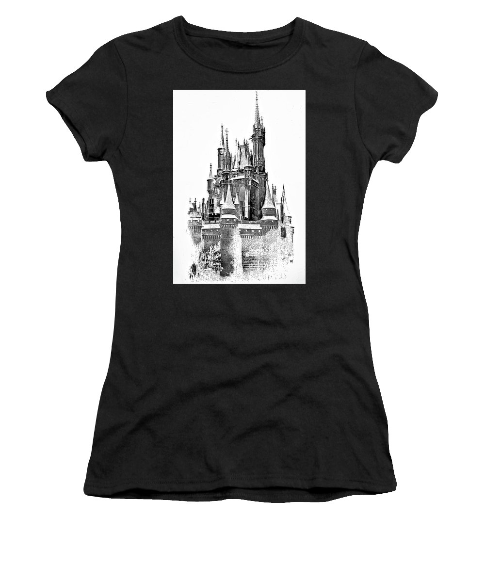 Castle Women's T-Shirt featuring the photograph Hall Of The Snow King Monochrome by Steve Harrington