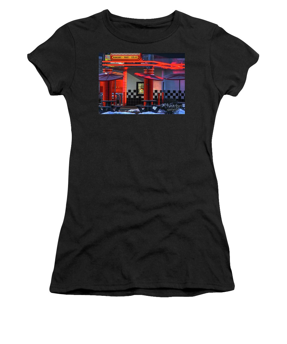 Street Photos Women's T-Shirt (Athletic Fit) featuring the photograph Hamburgs-fries-colas by Robert Pearson