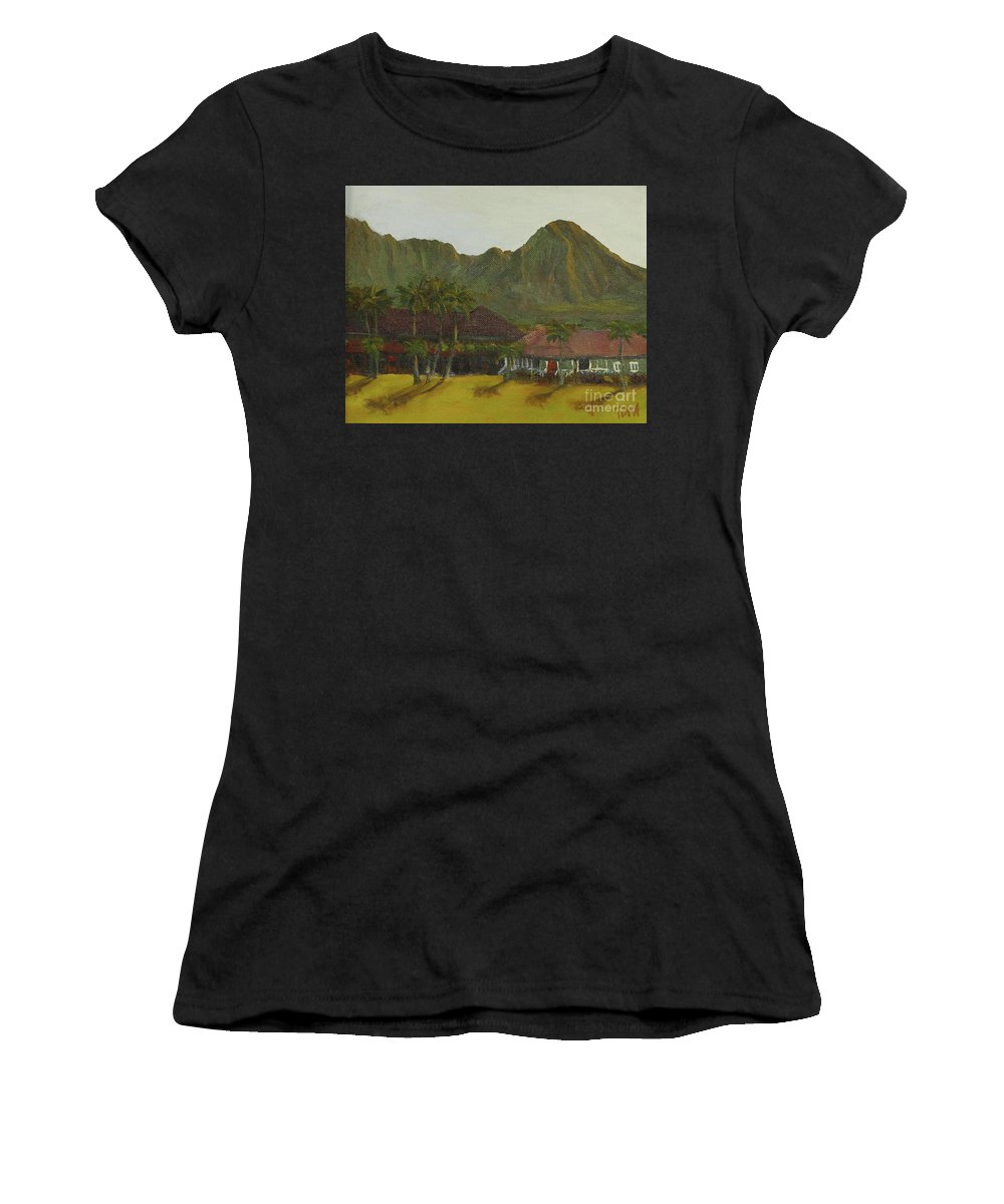 Hanalei Women's T-Shirt (Athletic Fit) featuring the painting Hanalei by Laura Toth