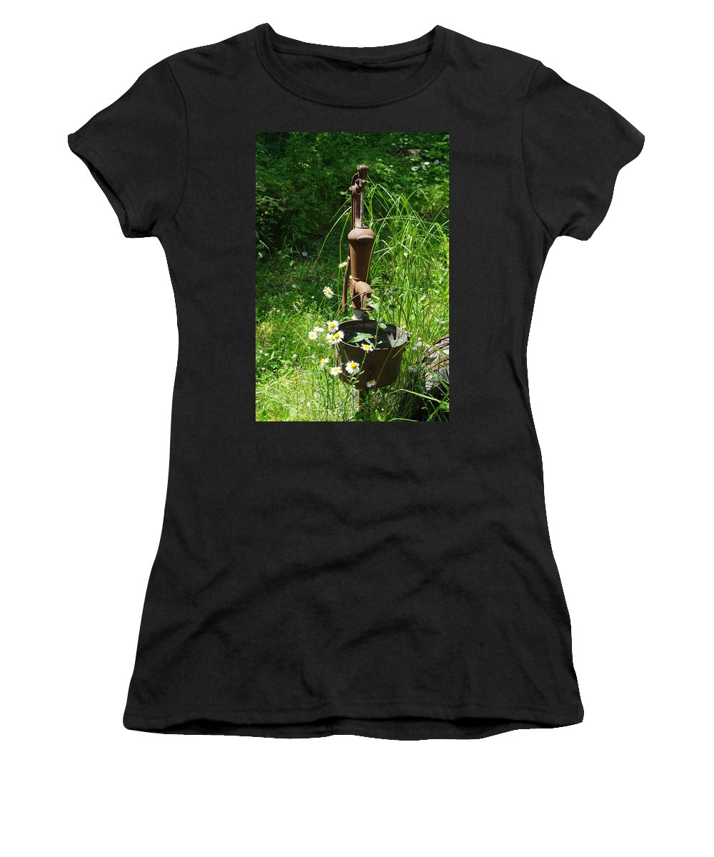 Pump Women's T-Shirt (Athletic Fit) featuring the photograph Hand Pump In The Spring by Alice Markham