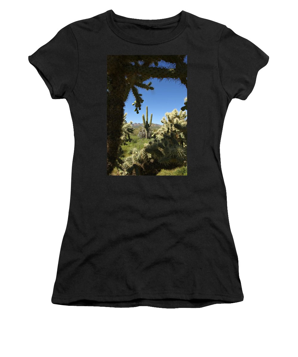 Saguaro Women's T-Shirt featuring the photograph Hands Up You're Surrounded by Jill Reger