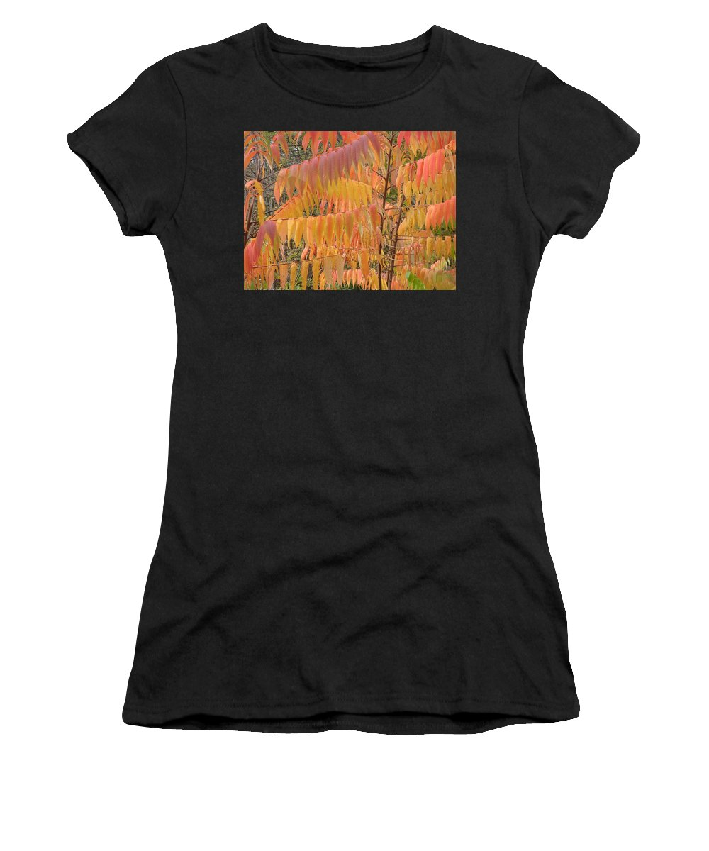 Spencer Gorge Ontario Autumn Leaves Red Orange Yellow Amber Women's T-Shirt featuring the photograph Hanging Fire by The Sangsters