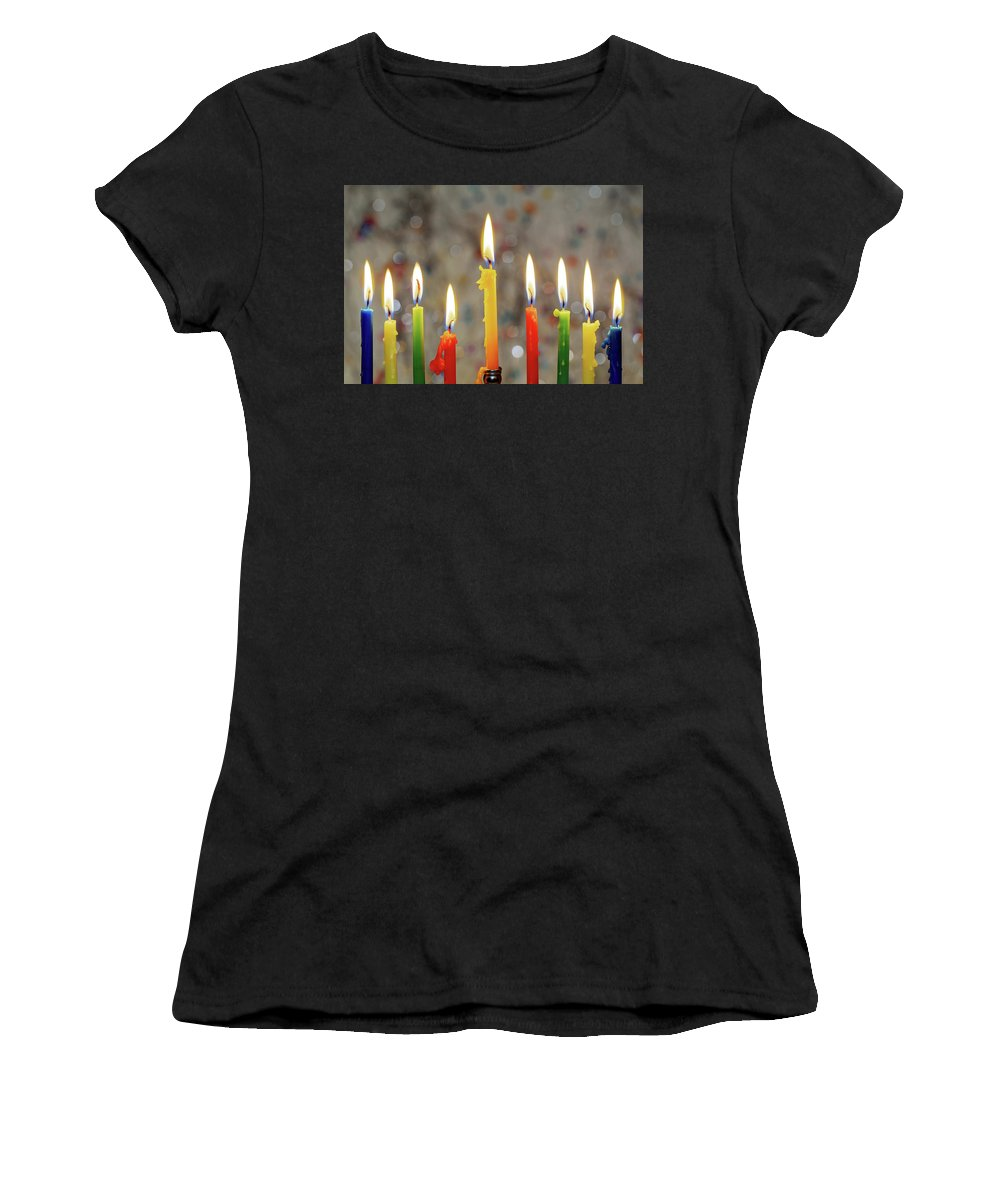 Menorah Women's T-Shirt (Athletic Fit) featuring the photograph Hanukkah Menorah With Burning Candles by Valentyn Semenov