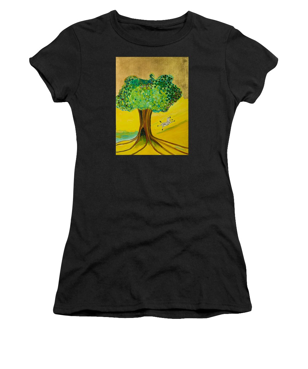 Landscape Women's T-Shirt (Athletic Fit) featuring the painting Happiness by Jarle Rosseland