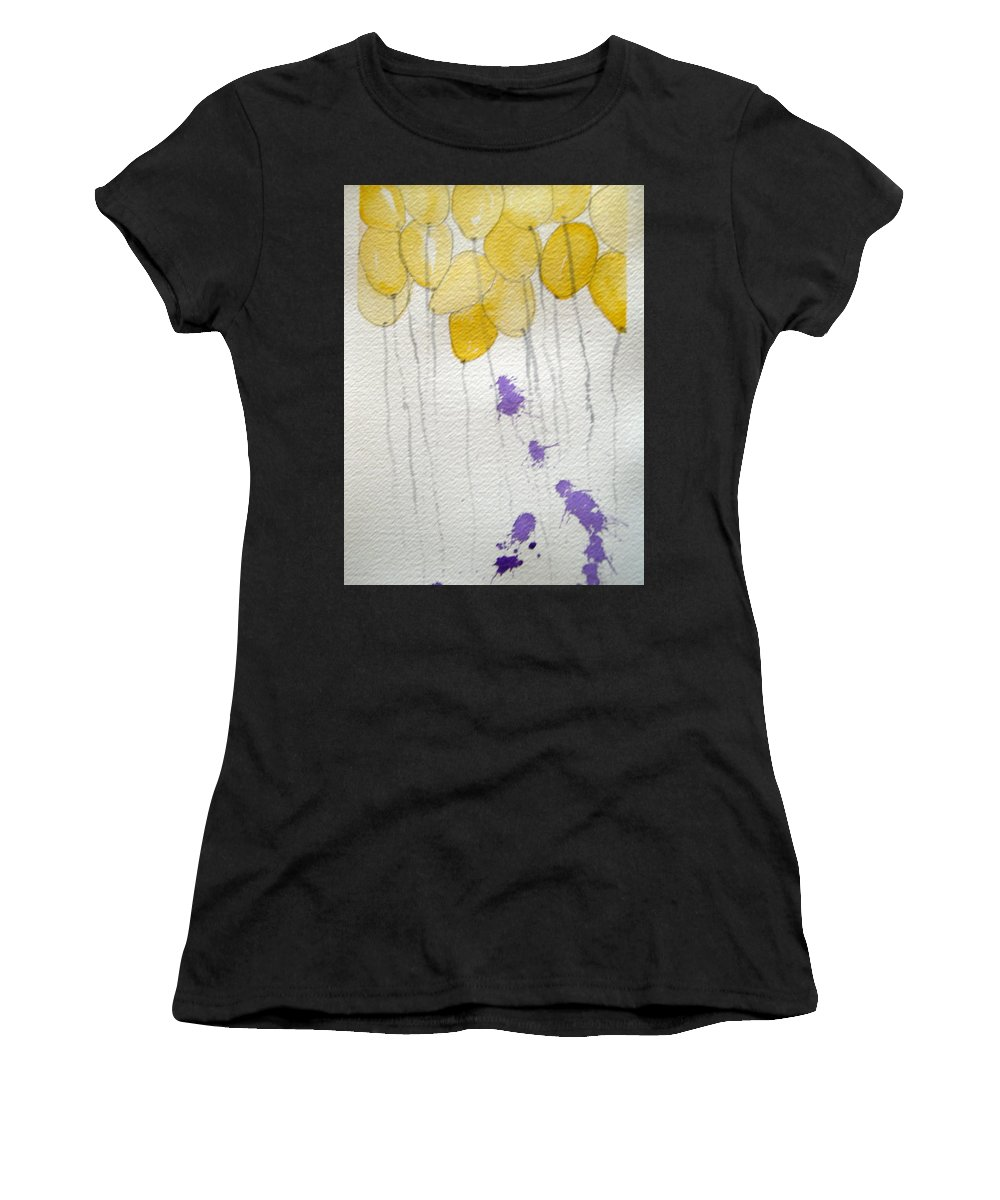 Balloon Celebrate Fun Happy Play Birthday Women's T-Shirt (Athletic Fit) featuring the painting Happy Birthday Ashleigh by Patricia Caldwell