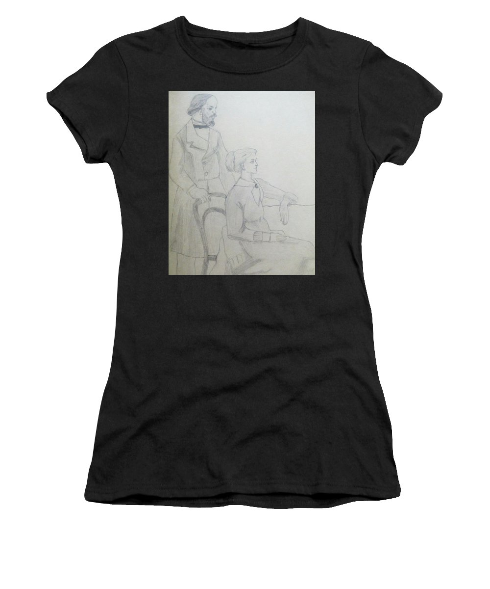 Sketch Women's T-Shirt (Athletic Fit) featuring the drawing Happy Couple by Seema Sharma