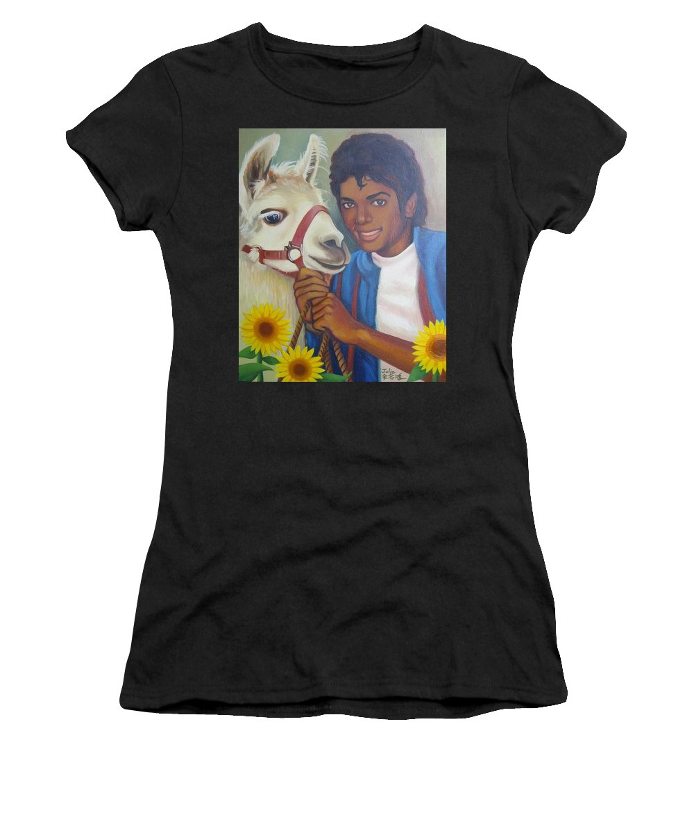 Happy Women's T-Shirt featuring the painting Happy Michael Jackson With His Pet Llama by Julie Yu